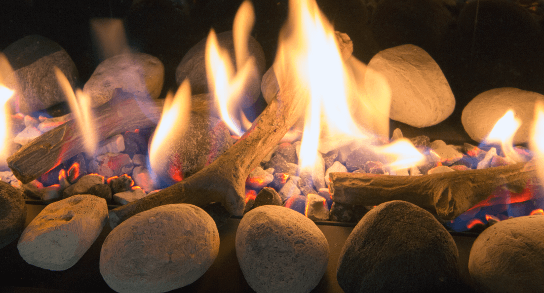 Rock and Shale set for Valor gas fireplaces