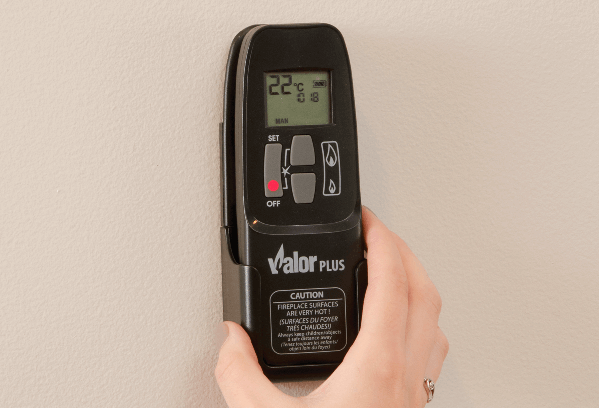 Remote and handset location/set temperatures for your Valor gas fireplace
