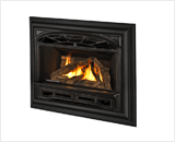Legend G3 Insert Series shown with Logs, Traditional Cast Front and 4-Sided Deluxe Trim Kit in Black