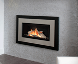Legend G3 Insert Series shown with Driftwood, Black Square Trim and Brushed Nickel Contemporary Surround