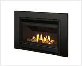 Legend G3 Insert Series shown with Decorative Rock Kit, Matte Black Front and 3-Sided Square Trim Kit in Black