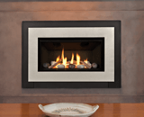 Legend G3 Insert Series shown with Decorative Rock Kit, Black Square Trim and Brushed Nickel Contemporary Surround