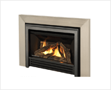 Legend G3 Insert Series shown with Logs, Clearview Front and 3-Sided Square Trim Kit in Brushed Nickel