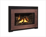 Legend G3 Insert Series shown with Logs, Black Square Trim and Copper Contemporary Surround