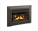 Legend G3 Insert Series shown with Logs, Contemporary Front in Vintage Iron and 3-Sided Contour Trim Kit in Vintage Iron