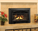 Legend G3 Insert Series shown with Logs, Traditional Cast Front and 3-Sided Deluxe Trim Kit