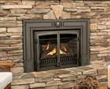 Legend G3 Insert Series shown with Logs, FenderFire Double Doors and Cast Iron Surround