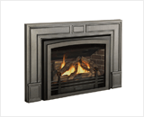 Legend G3 Insert Series shown with Logs, Clearview Front Cast Iron Surround