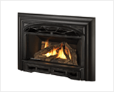 Legend G3 Insert Series shown with Logs, Traditional Cast Front and 3-Sided Contour Trim Kit in Black
