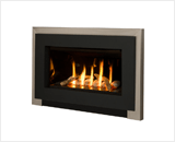 Legend G3 Insert Series shown with Rocks, Brushed Nickel Square Trim and Black Contemporary Surround