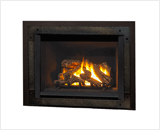 Legend G4 Insert Series shown with Logs, Edgemont Hammered Front in Oiled Bronze and Backing Plate