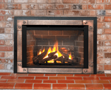 Legend G4 Insert Series shown with Logs, Red Brick Liner, Edgemont Hammered Front in Copper and Backing Plate