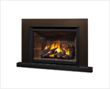 Legend G4 Insert Series shown with 780 Logs, Ledgestone Liner, Floating Trim Kit in Bronze and Riser Trim in Black