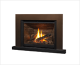 Legend G4 Insert Series shown with 785 Logs, Ledgestone Liner, Floating Trim Kit in Bronze and Riser Trim in Black