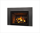 Legend G4 Insert Series shown with 780 Logs, Red Brick Liner and Square Trim Kit in Vintage Iron