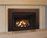 Legend G4 Insert Series shown with Logs, Black Fluted Liner and Floating Trim Kit in Bronze