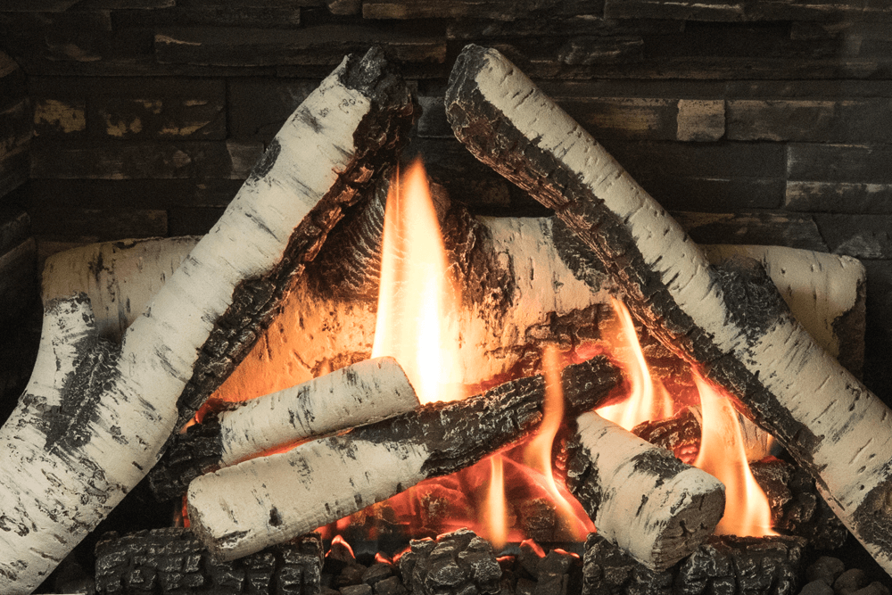 H3 Gas Fireplace Birch Logs