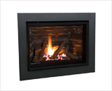 H5 Series shown with Traditional Logs and 4 Sided Surround in Black