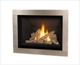 H5 Series shown with Traditional Logs and 4 Sided Surround in Brushed Nickel