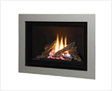 H5 Series shown with Traditional Logs and 4 Sided Surround in Painted Nickel