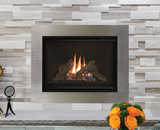 H5 Series shown Traditional Logs, Fluted Black Liner and 4 inch 4-Sided Trim Kit in Plated Brushed Nickel