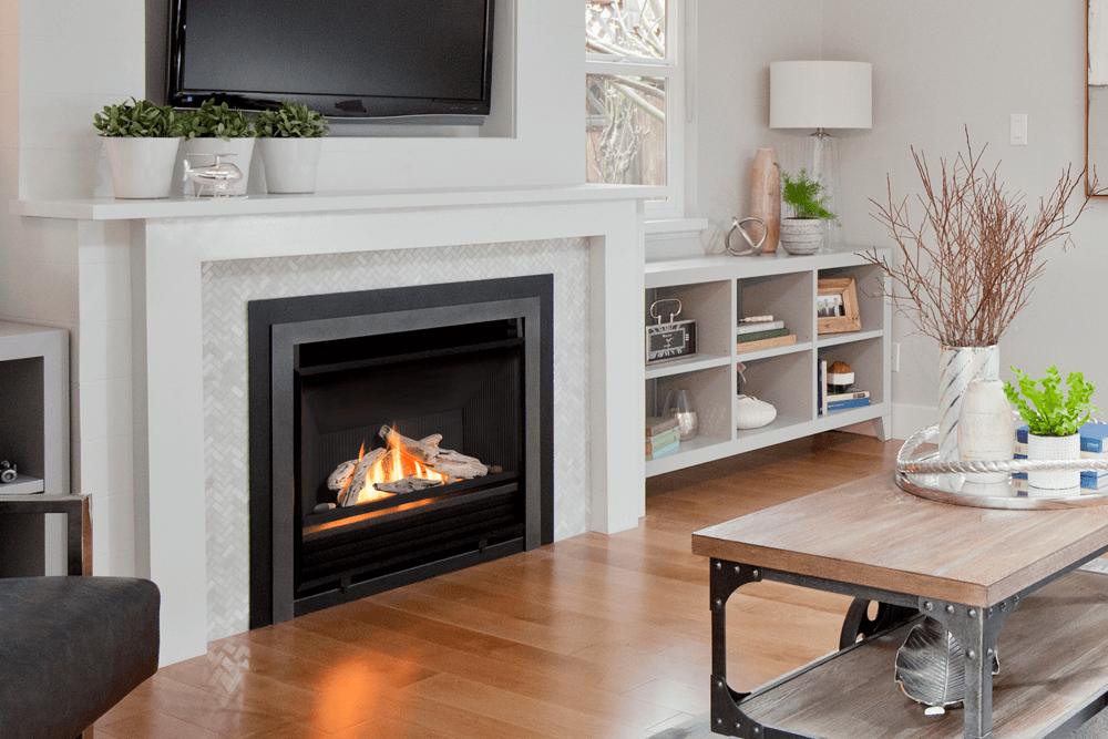 White Brick Fireplace Mantle Decor