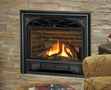 Horizon Series shown with Logs, Traditional Cast Iron Front and Contour Trim