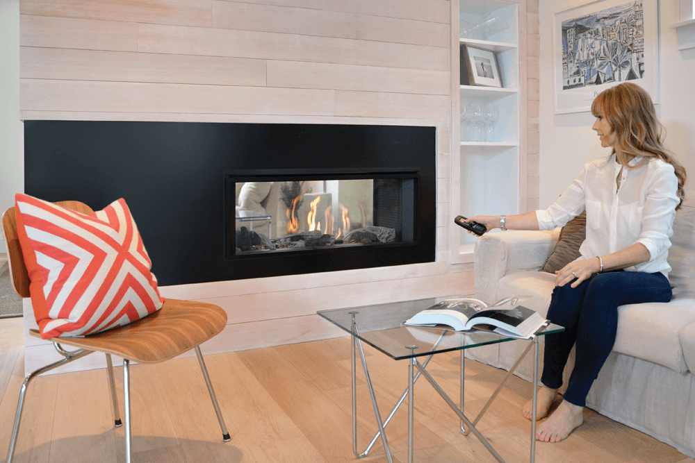 burning double insert wood sided fireplace two