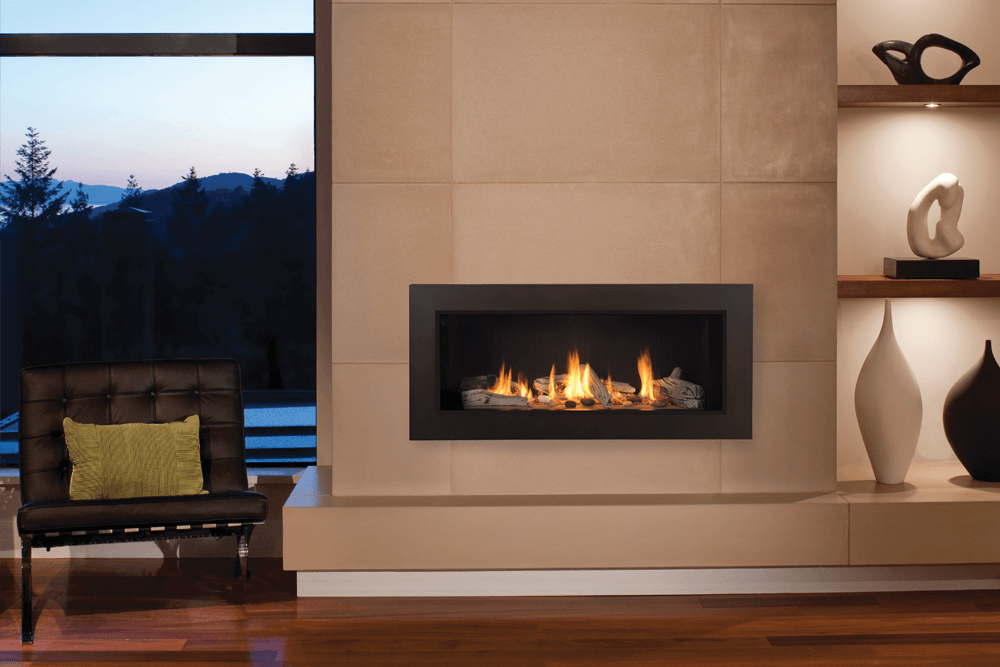 ... L1 Linear Series with Driftwood, Fluted Black Liner and 3 1/2 Inch  Surround ... - Valor L1 Linear Series