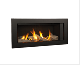L1 Linear Series with Driftwood, Fluted Black Liner and 3 1/2 Inch Trim in Black