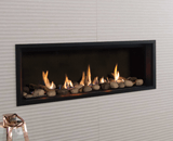 L1 Linear Series with Rock and Shale, Fluted Black Liner, 1 Inch Trim and the Valor HeatShift System