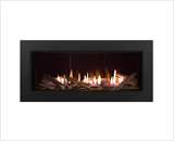 L1 Linear Series with Splitwood Logs, Reflective Glass Liner and 3 1/2 Inch Trim in Black