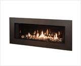 L2 Linear Series with Rock and Shale, Fluted Black Liner and 5 1/4 Inch Trim in Bronze