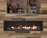 L2 Linear Series shown with Splitwood Logs, 1 Inch Trim and the Valor HeatShift System