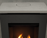 Thr Portrait Lift Freestanding Fireplace can be rear vented, while the top vent can be covered
