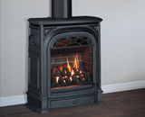 Portrait President Freestanding Fireplace shown with Coals